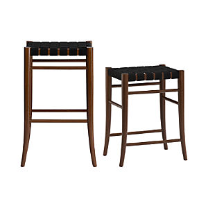 Oslo Black Backless Bar Stools