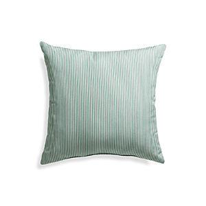 """Sunbrella® Bottle Green Ticking Stripe 20"""" Sq. Outdoor Pillow"""