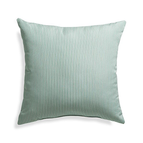 "Sunbrella® Bottle Green Ticking Stripe 20"" Sq. Outdoor Pillow"