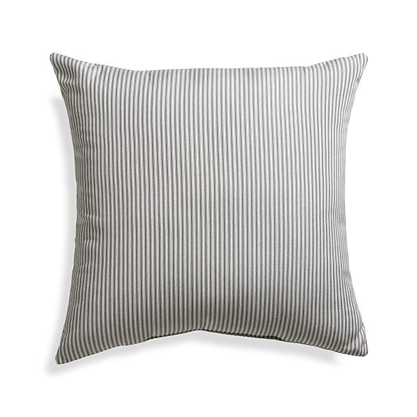 "Sunbrella® Charcoal Ticking Stripe 20"" Sq. Outdoor Pillow"