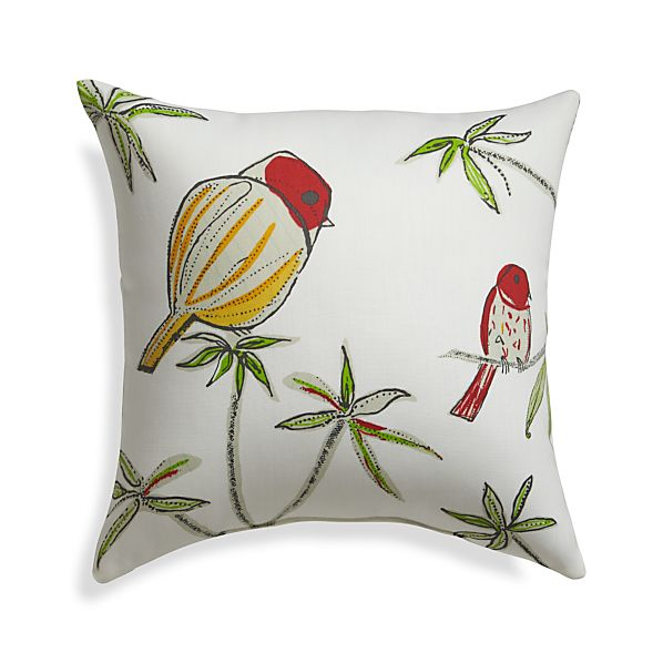 "Chubby Birds 20"" Sq. Outdoor Pillow"