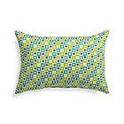 Graphic Geo Tiles Bottle Green Outdoor Pillow.