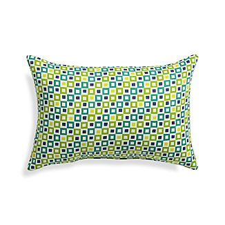"Graphic Geo Tiles Bottle Green 20""x13"" Outdoor Pillow"
