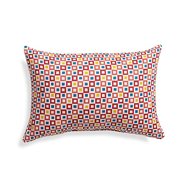 "Graphic Geo Tiles Paprika 20""x13"" Outdoor Pillow"