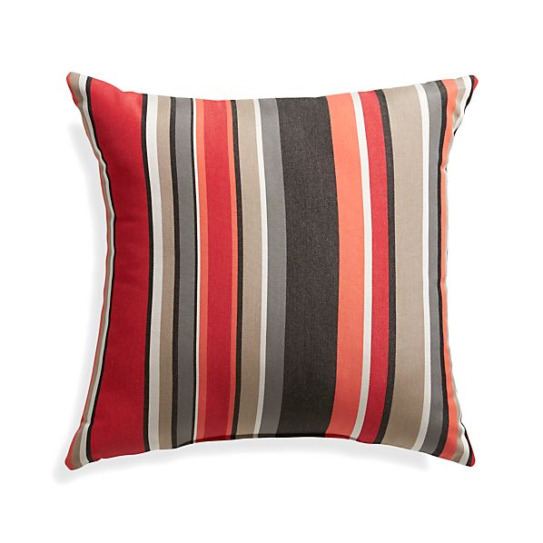 "Sunbrella® Red Multi Stripe 20"" Sq. Outdoor Pillow"