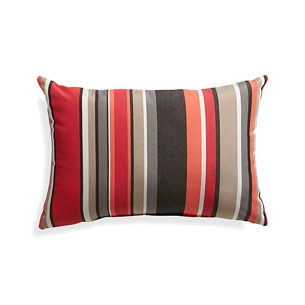 "Sunbrella® Red Multi Stripe 20""x13"" Outdoor Pillow"