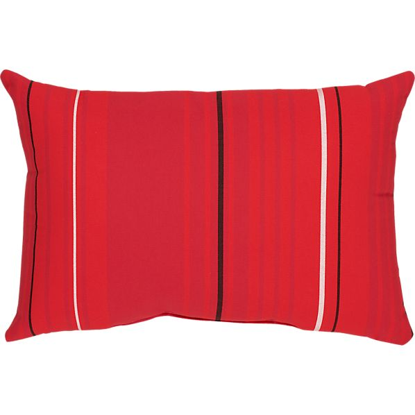 "Sunbrella® Red Tonal Stripe 20""x13"" Outdoor  Pillow"