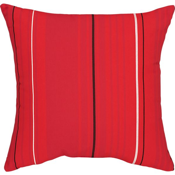 "Sunbrella ® Red Tonal Stripe 20"" Sq. Outdoor Pillow"