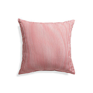 "Sunbrella® Red Ticking Stripe 20"" Sq. Outdoor Pillow"