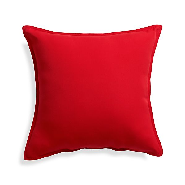 "Sunbrella® Ribbon Red 20"" Sq. Outdoor Pillow"