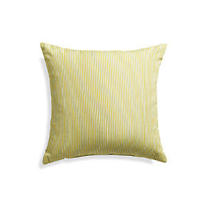 "Sunbrella® Sulfur Ticking Stripe 20"" Sq. Outdoor Pillow"