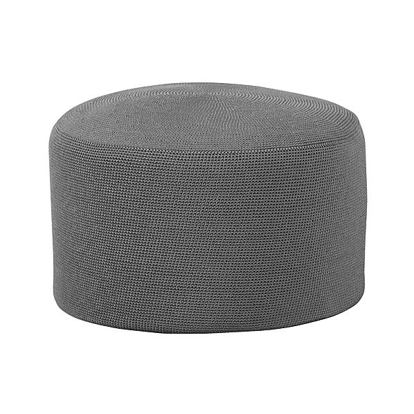 Textured Graphite Outdoor Pouf