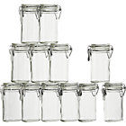 Set of 12 mini oval spice-herb jars with clamp. 4 oz.