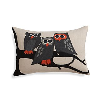 "Owl 20""x13"" Pillow with Feather-Down Insert"