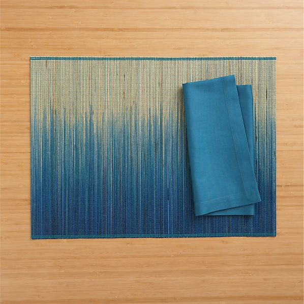 Oxley Blue Placemat and Fete Corsair Cotton Napkin