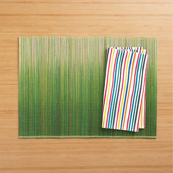 Oxley Green Placemat and Vibe Stripe Napkin