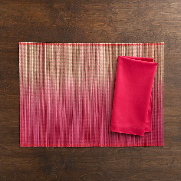 Oxley Pink Placemat and Fete Azalea Cotton Napkin