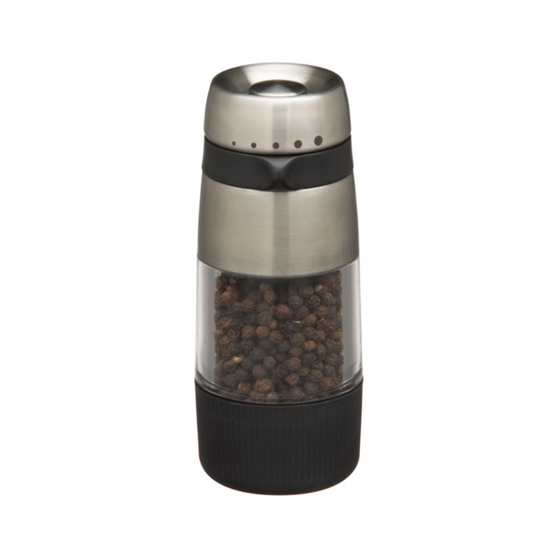 Sleek steel and acrylic mill has a ceramic grinder that adjusts from fine to coarse by aligning grip with small to large dots. Arrives filled.<br /><br /><NEWTAG/><ul><li>Steel, acrylic, heavy-duty plastics and Santoprene®</li><li>Ceramic grinder</li><li>Filled with whole pepper</li><li>Clean with a damp cloth</li><li>Made in China</li></ul>