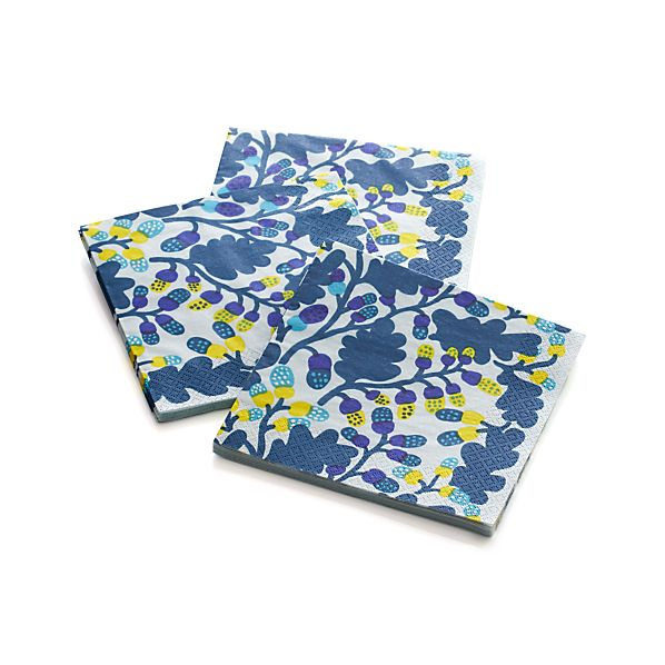 "Set of 20 Marimekko Pähkinäpuu Blue and Yellow Paper 6.5"" Napkins"