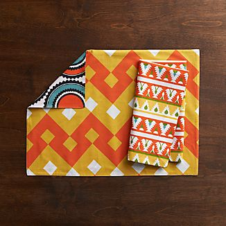 Palace Orange-Yellow Placemat and Palace Orange Trim Napkin