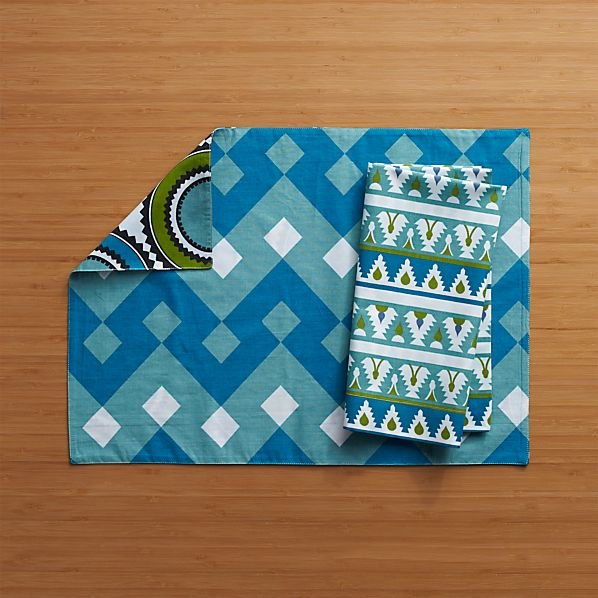 Palace Blue-Green Placemat and Palace Blue Trim Napkin