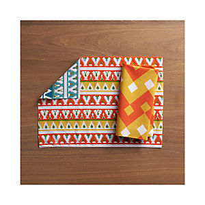 Palace Orange-Blue Placemat and Palace Orange Napkin