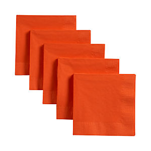 Set of 50 Orange Cocktail Napkins
