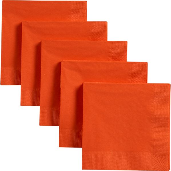 Set of 50 Orange Paper Cocktail Napkins