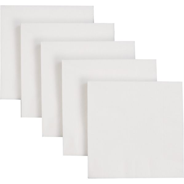 Set of 50 White Cocktail Napkins