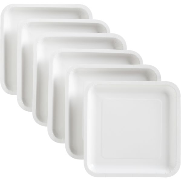 White Deep Paper Plates Set of 18