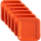 Set of 18 orange deep paper appetizer plates.