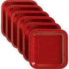 "Set of 18 red deep paper plates. 6.875""sq.x.678""H"