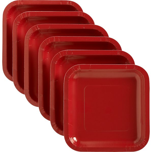Red Deep Paper Plates Set of 18