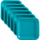 "Set of 18 teal deep paper plates. 6.875""sq.x.678""H"