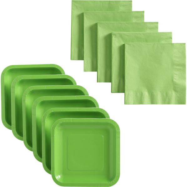 Lime Deep Paper Plates Set of 18 and Lime Lunch Napkins Set of 50