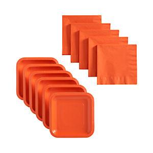 Orange Deep Paper Plates Set of 18 and Orange Lunch Napkins Set of 50