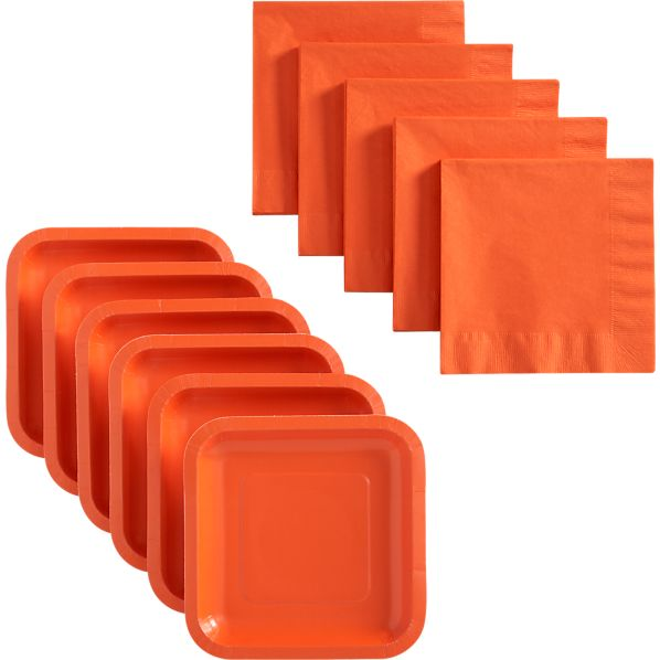 Orange Deep Paper Plates Set of 18 and Orange Lunch Napkins Set of 50