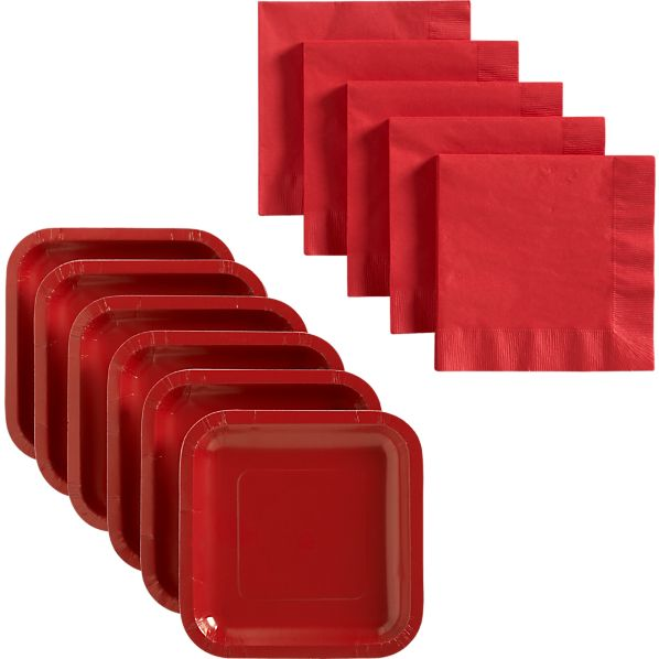 Red Deep Paper Plates Set of 18 and Red Lunch Napkins Set of 50