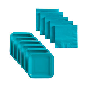 Teal Deep Paper Plates Set of 18 and Teal Lunch Napkins Set of 50