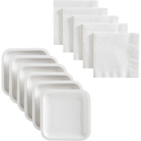 White Deep Paper Plates Set of 18 and White Lunch Napkins Set of 50