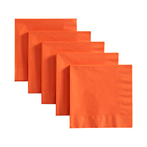 Set of 50 Orange Lunch Napkins
