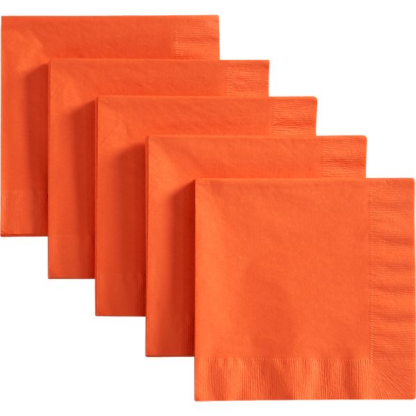 Set of 50 Orange Lunch Napkins