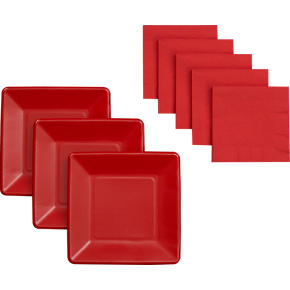 Red Paper Plates Set of 18/Cocktail Napkins Set of 50