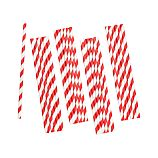 Set of 25 Red Stripe Paper Straws
