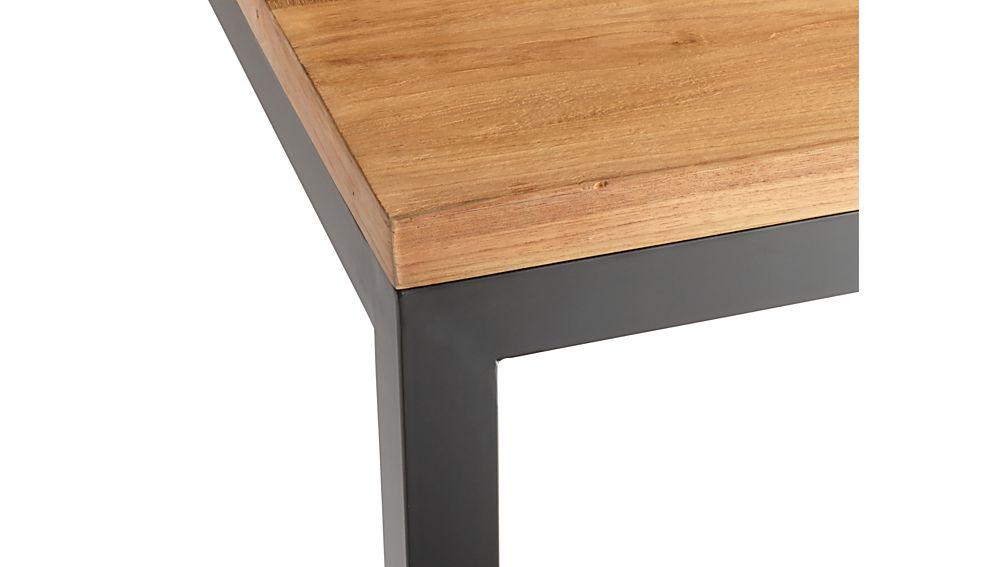 Teak Top/ Natural Dark Steel Base 48x28 Parsons Dining Table