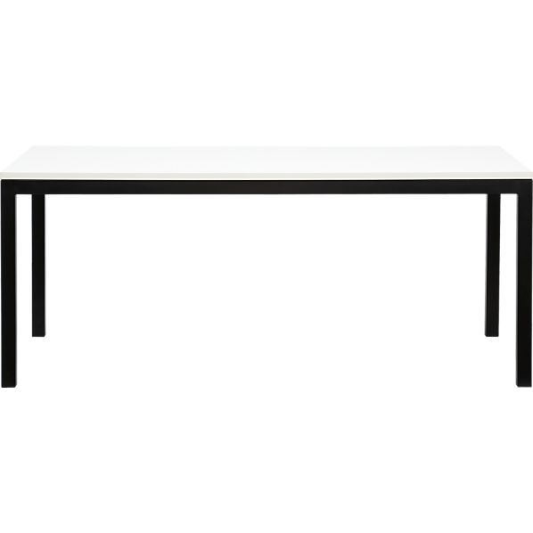 Parsons White Top 72x42 Dining Table with Natural Dark Steel Base