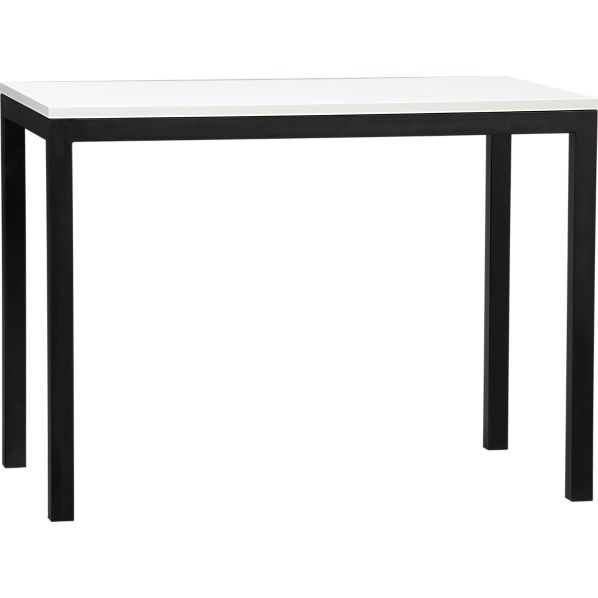 Parsons White Top High Dining Table with Natural Dark Steel Base
