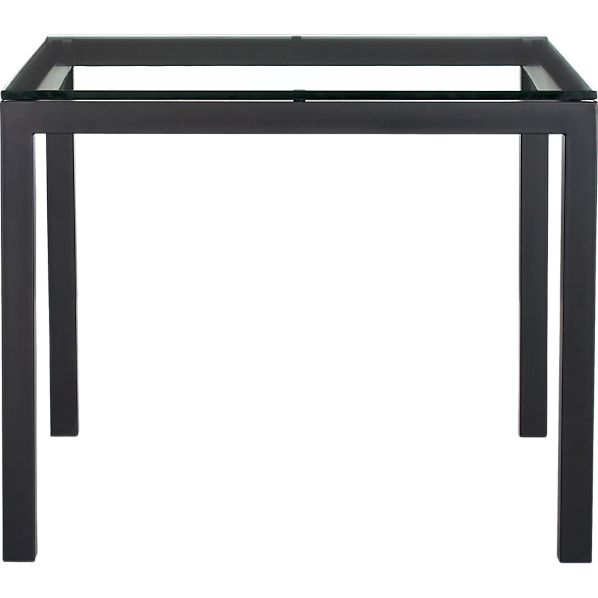 "Parsons Glass Top 36"" Sq. Dining Table with Natural Dark Steel Base"