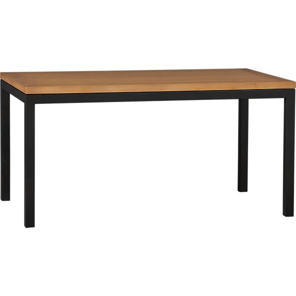 Parsons Bamboo Top 60x36 Dining Table with Natural Dark Steel Base