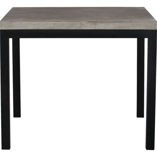 "Parsons Concrete Top 36"" Sq. Dining Table with Natural Dark Steel Base"